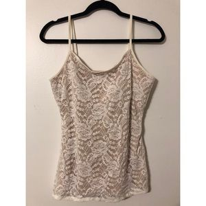 Express - White Lace Camisole with Nude Lining
